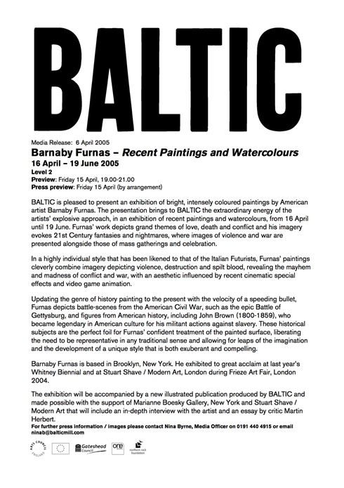 Barnaby Furnas: Recent Paintings and Watercolours: BALTIC Press Release