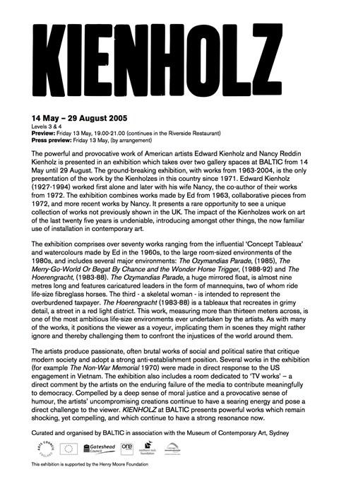 Kienholz Press Release