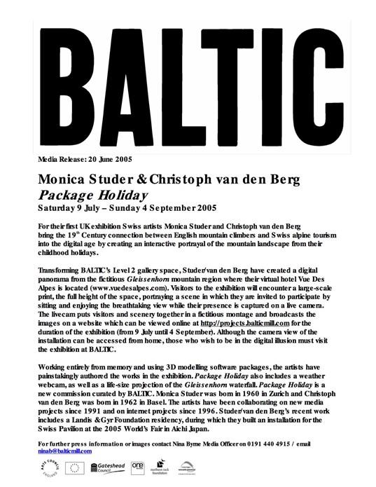 Monica Studer, Christoph Van Den Berg: Package Holiday: Press Release