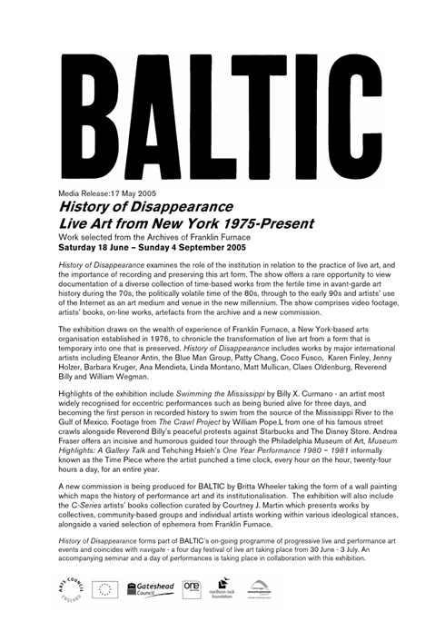 History of Disappearance: Live Art from New York 1975 - present: Press Release