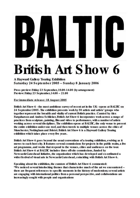 British Art Show 6: Press Release