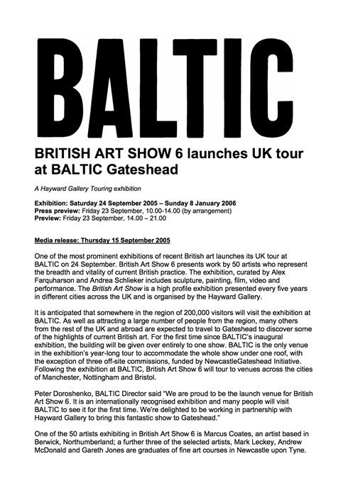 British Art Show 6: Regional Press Release