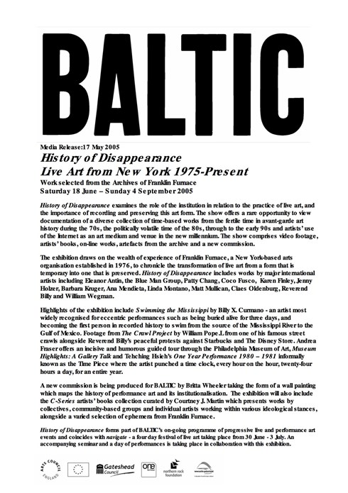 History of Disappearance: BALTIC Press Release