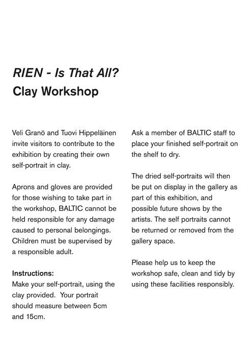 Hippelainen and Grano: Clay Workshop Text Panel
