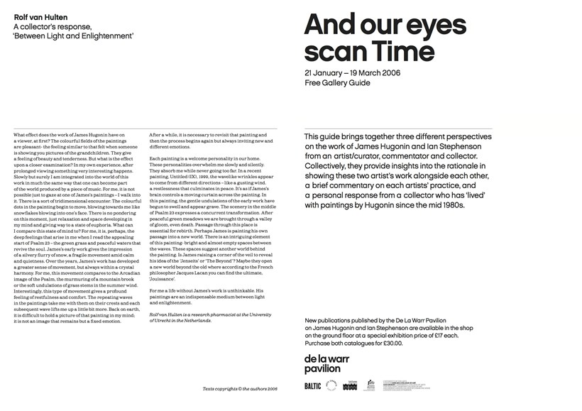 James Hugonin and Ian Stephenson: And our eyes scan Time: Gallery guide