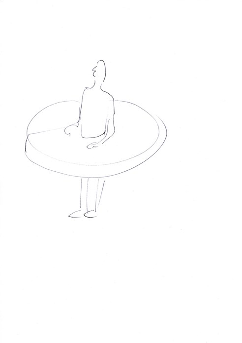Erwin Wurm: Man who swallowed the world when it was a disc (drawing)