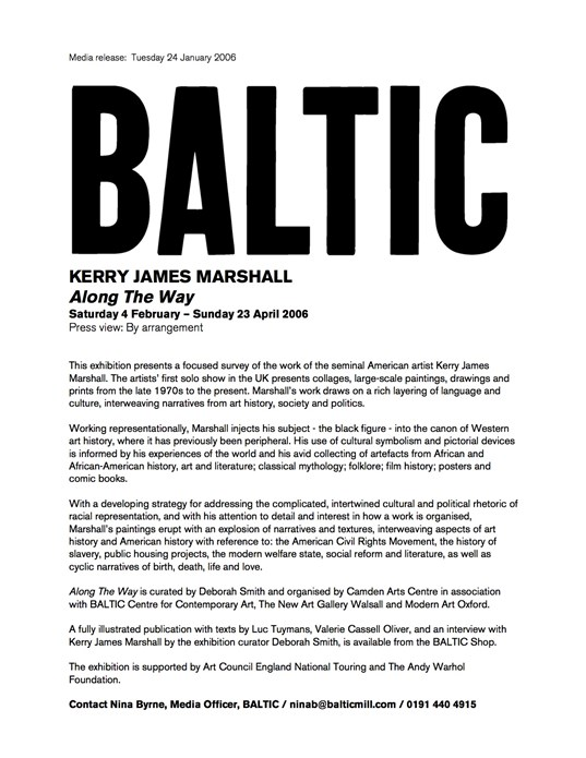 Kerry James Marshall: Along the Way: Press Release