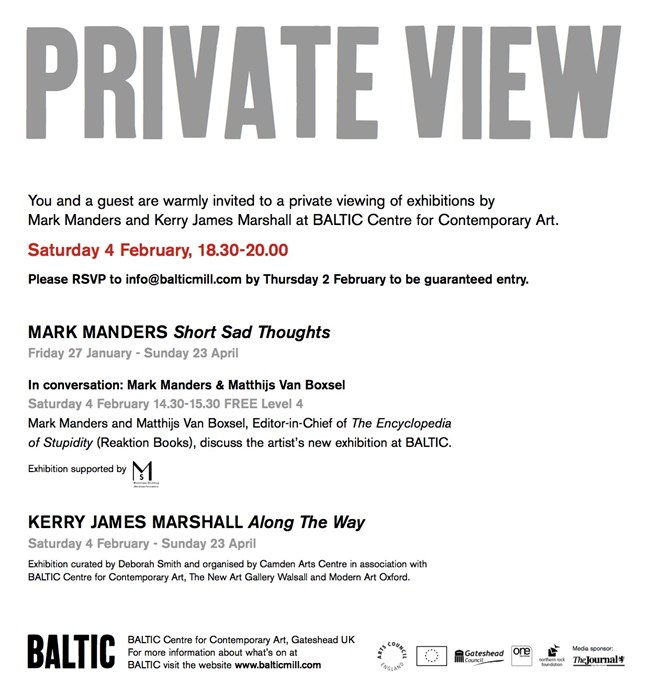 Mark Manders: Short Sad Thoughts & Kerry James Marshall: Along the Way: Private View e-Card