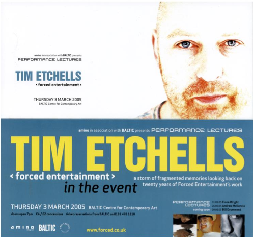 Tim Etchells: forced entertainment: Performance Lecture: Poster