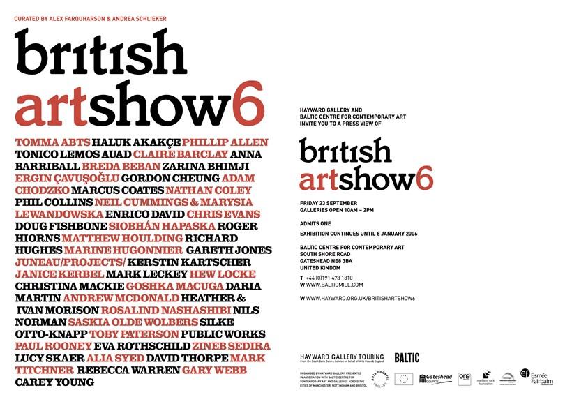 British Art Show 6: Press Preview Invitation Card