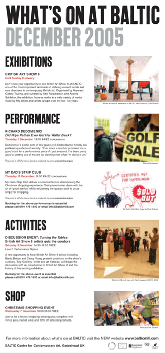 What's on at BALTIC: December 2005: E-Flyer