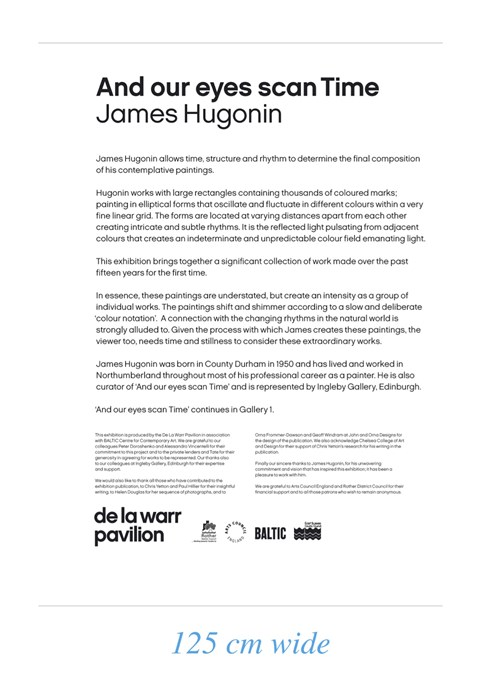 James Hugonin: And our eyes scan Time: Text Panel