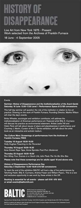 History of Disappearance: Live Art from New York 1975 - present: E-Flyer