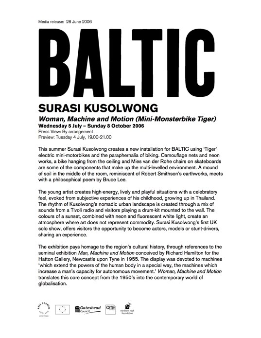 Surasi Kusolwong: Woman, Machine, Motion: Press Release