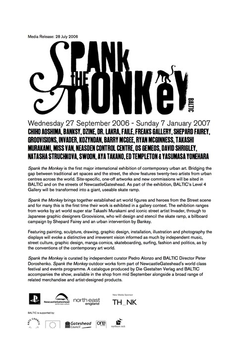 Spank the Monkey: Initial Press Release