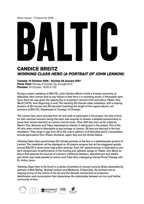 Candice Breitz: Working Class Hero (A Portrait of John Lennon): Press Release