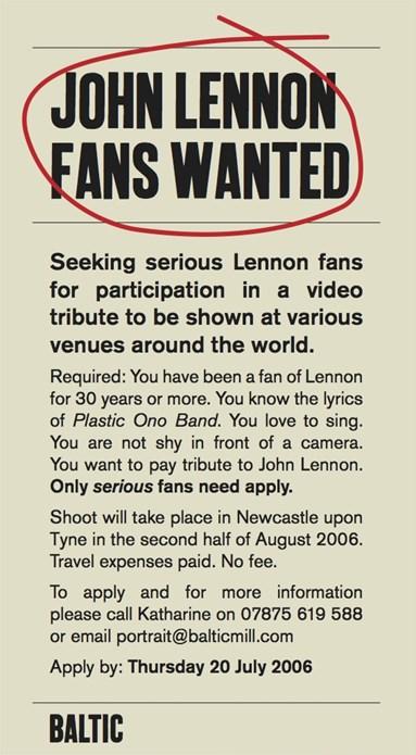 Candice Breitz: Working Class Hero (A Portrait of John Lennon): Recruitment advert