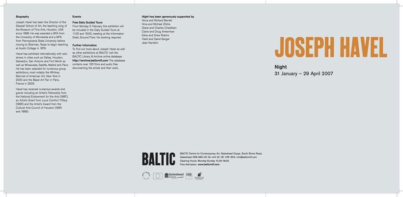 Joseph Havel: Night: Exhibition Guide