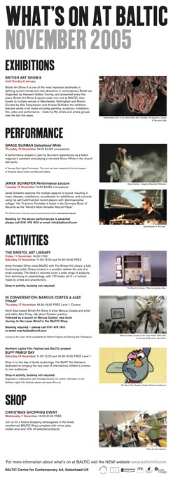 What's on at BALTIC: November 2005: E-Flyer