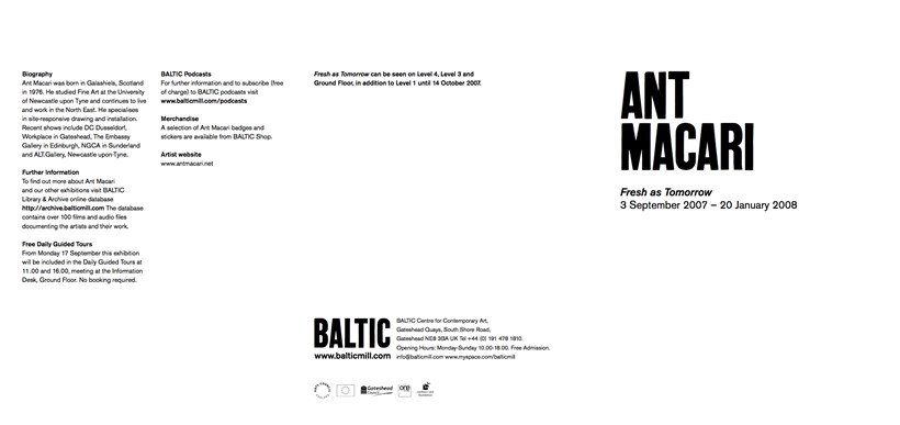 Ant Macari: Fresh as Tomorrow: Exhibition Guide