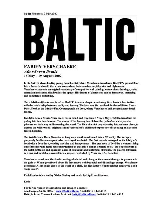 Fabien Verschaere: After Seven Remix : Press Release
