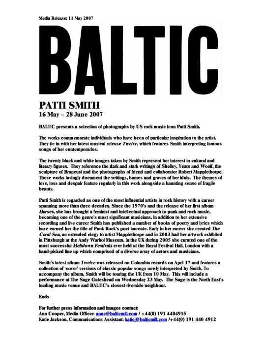Patti Smith: Press Release