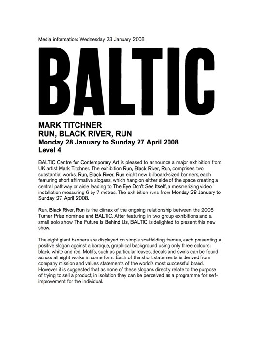 Mark Titchner: Run, Black River, Run: Press Release