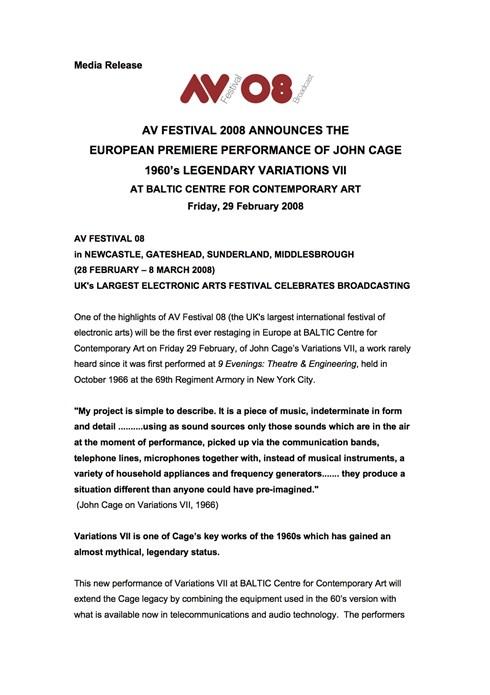 AV Festival 08: John Cage Variations VII: Press Release