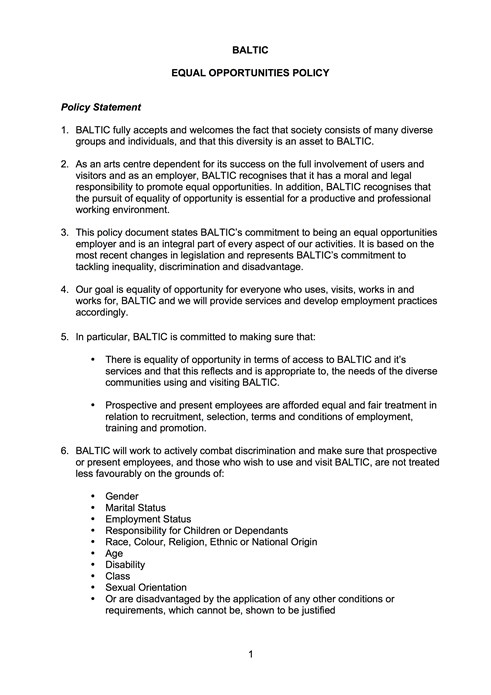 BALTIC Equal Opportunities Statement 2006