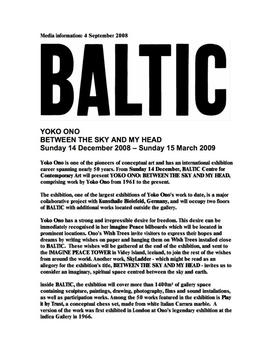 Yoko Ono: Between the Sky and My Head: Press Release