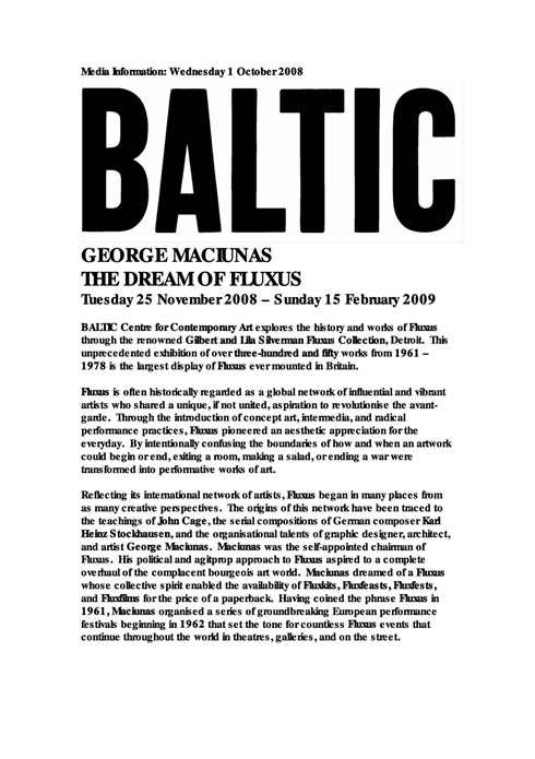 George Maciunas:  The Dream of Fluxus: Press Release