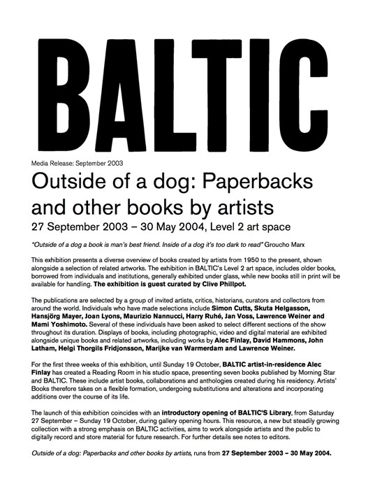 Artists Books: Outside of a Dog: Paperbacks and Other Books by Artists: Press Release