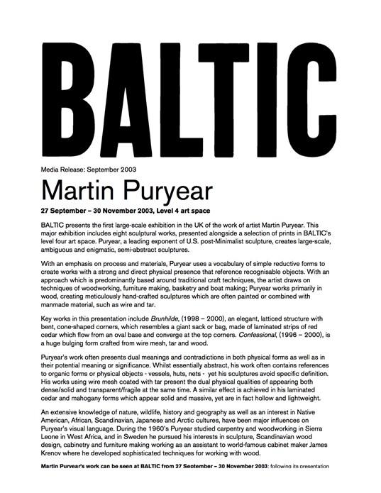 Martin Puryear: Press Release