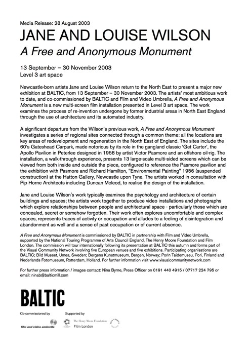 Jane and Louise Wilson: A Free and Anonymous Monument: Press Release