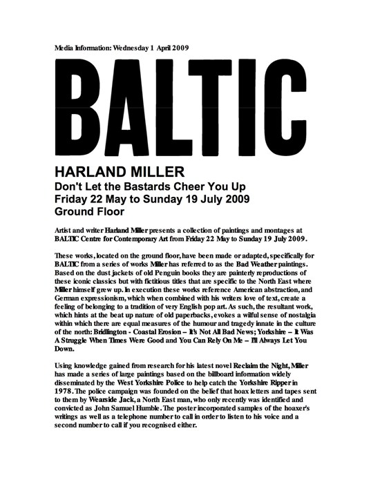 Harland Miller: Don't Let the Bastards Cheer You Up: Press Release