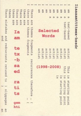 Gerry Smith: I am a text-based artist: selected works (1998-2008)