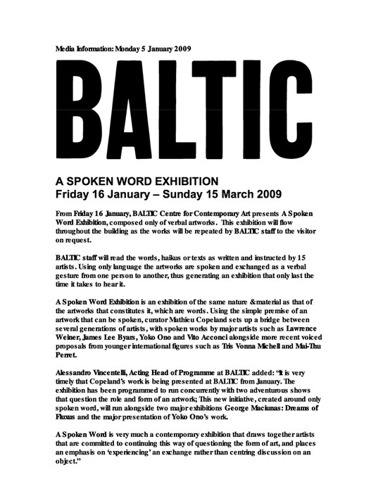 A Spoken Word Exhibition: Press Release