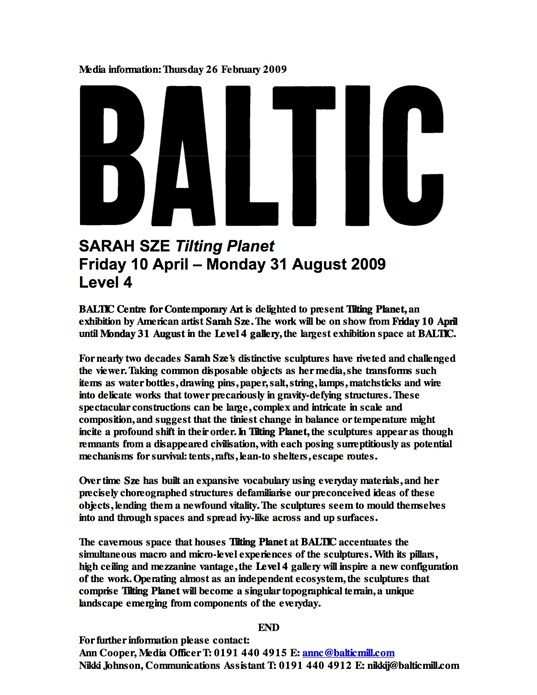 Sarah Sze: Tilting Planet: Press Release