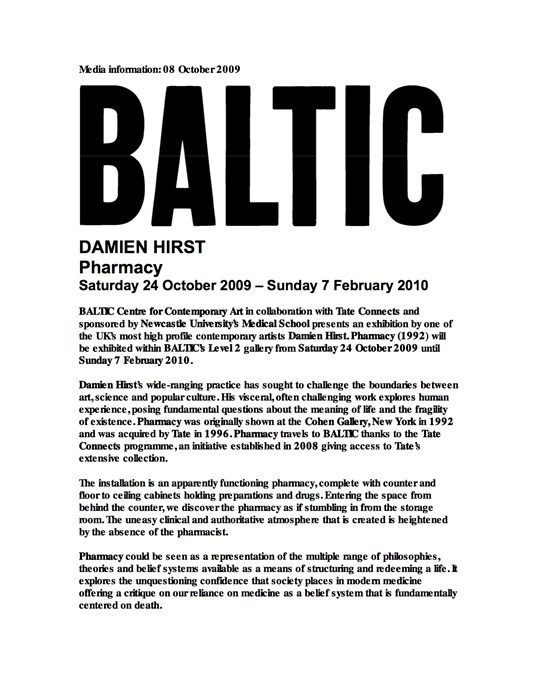Damien Hirst: Pharmacy: Press Release