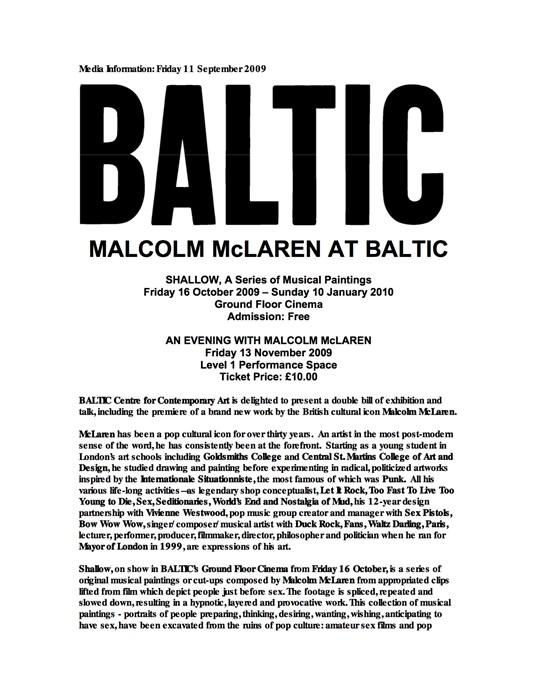 Malcolm McLaren: Shallow: Press Release