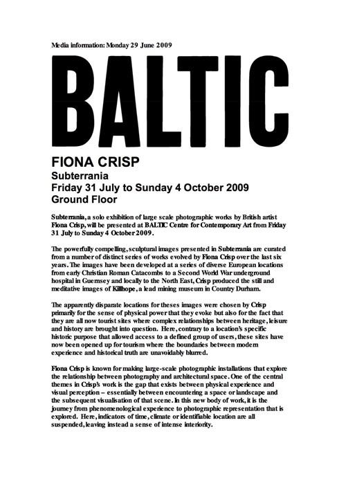 Fiona Crisp: Subterrania: Press Release