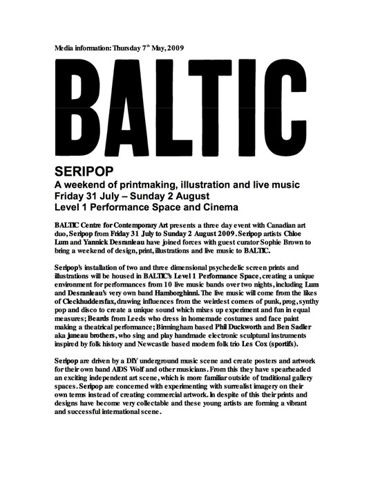 Seripop: A weekend of design, print, illustrations and live music curated by Sophie Brown: Press Release (01)