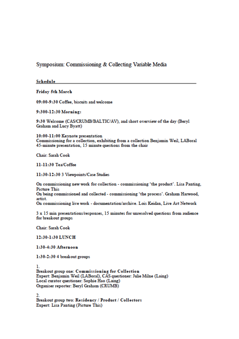 Commissioning & Collecting Variable Media Symposium: Event schedule