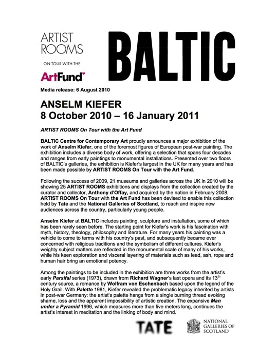 Anselm Kiefer: Artist Rooms On Tour with the Art Fund: Press Release
