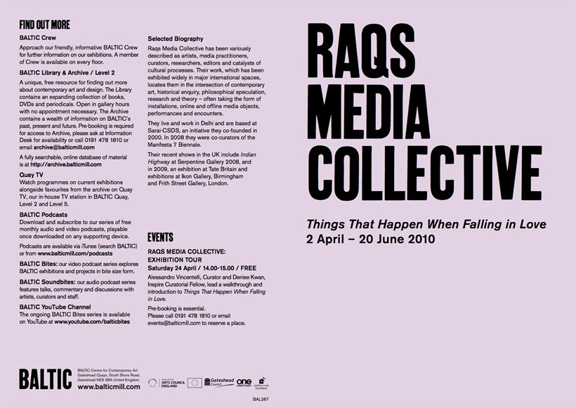 RAQs Media Collective: Things That Happen When Falling In Love: Exhibition Guide