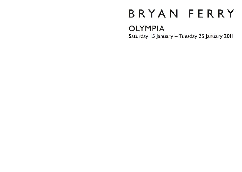 Bryan Ferry: Olympia: Exhibition Guide
