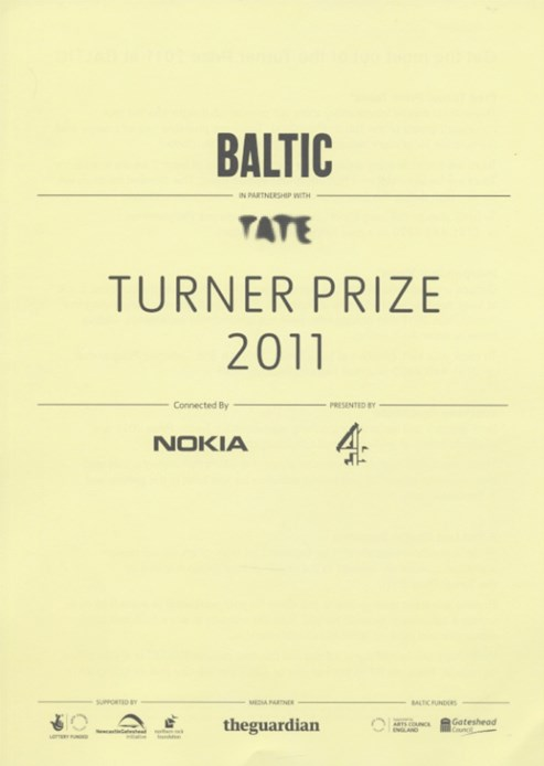 Get the most out of the Turner Prize 2011 at BALTIC: Information for Teachers
