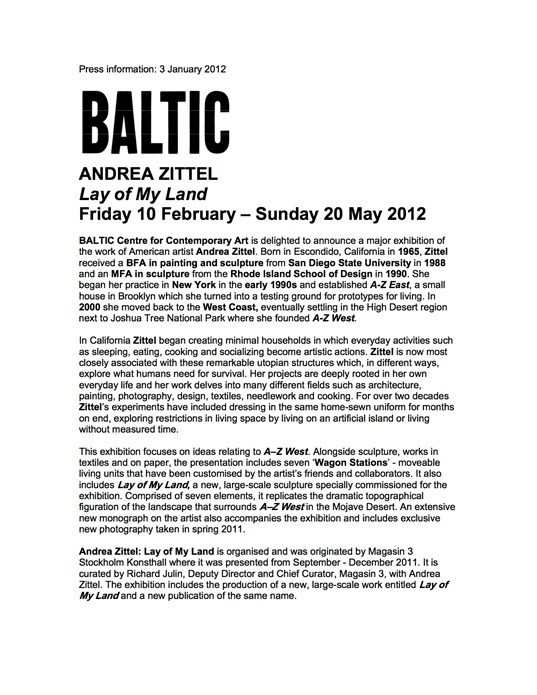Andrea Zittel: Lay of My Land: Press Release