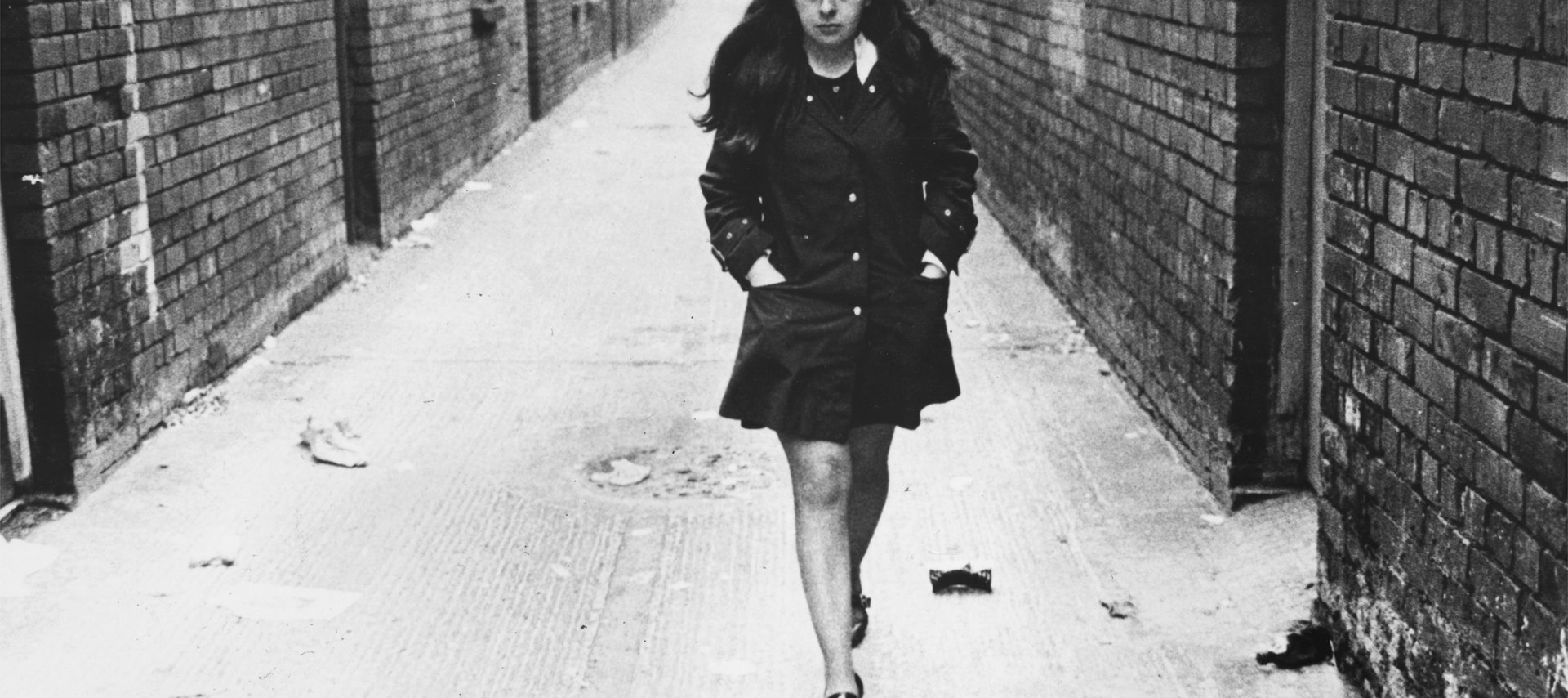 Collection: Hulton Archive Photographer: Central Press Courtesy of Getty Images   Image of Bernadette Devlin Black and white still image used in Bernadette a film by Duncan Campbell