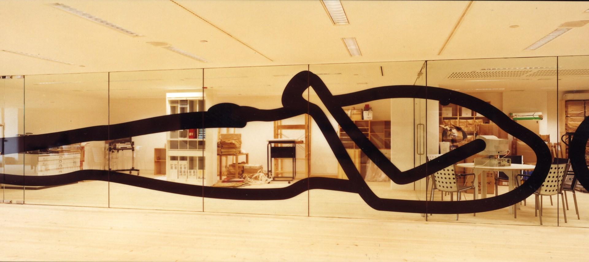 Julian Opie: Installations: Him Reclining. Image credit: Jerry Hardman-Jones